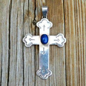 Vintage 925 Lapis Lazuli Cross Necklace Pendant